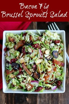 Bacon Fig Brussel Sprouts Salad is a delicious and crunchy dish that's perfect for a picnic, potluck, side dish, party or light lunch. Let it rest for a few hours up to overnight for even more flavor Sprouts Salad, Brussel Sprout Salad, Asparagus Salad, Broccoli Salad, Beet Salad Recipes, Pasta Recipes, Healthy Recipes, Soup And Salad, Pasta Salad