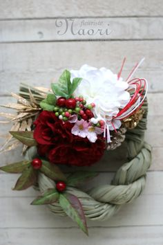 Japanese New Year wreath 2014 お正月 Merry Christmas And Happy New Year, Christmas Holidays, Christmas Wreaths, Christmas Crafts, Ikebana Arrangements, Floral Arrangements, Japanese Floral Design, Japanese New Year, Natural Christmas