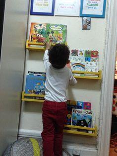 Bookshelves. IKEA spice racks. IKEA spice racks as book shelves. Kids room. Toddler room. Reading nook. DIY. Reading corner.  Small spaces.