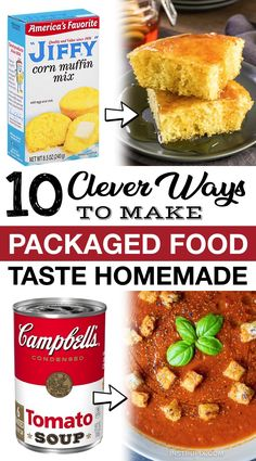 If you're looking for easy food recipes, packaged food is the most convenient way to make simple and family friendly meals. But, did you know you can make them taste so much better with just a few changes and additions? Here are a ton of tips and tricks on how to make packaged food taste so much better. Everything from boxed brownies to canned chili. You don't want to go another day without these helpful food hacks! Everyone should know these simple kitchen tips. Healthy Gourmet, Gourmet Recipes, Cooking Recipes, Cooking Hacks, Copycat Recipes, Easy Recipes, Boxed Brownies, Brownie Packaging, Dinner Box