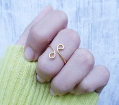 Gold Knuckle Ring / Adjustable Ring / Mid Knuckle Ring by Henju, $3.75