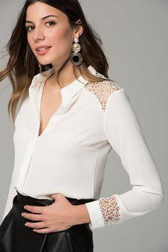 Kadın Ekru Omuz Dantel Detaylı Gömlek