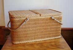 Woven Raffia Picnic Basket - SOLD! :)