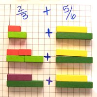 Adding fractions with Cuisenaire Rods.  Not sure the explanation is crystal clear, but a resource to study.  Other upper elementary concepts explained with Cuisenaire Rods.