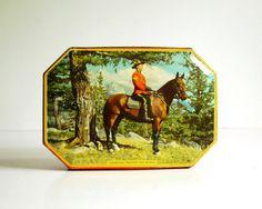 Vintage Tin Box Rileys Toffee Tin Canadian Mountie on Patrol Octagonal Box
