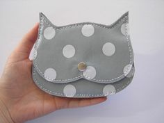 grey polka dot oil cloth Cat coin purse, Cat in love little pouch