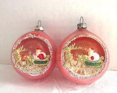 1950s Christmas Pink Ornaments Indent Diorama by vintagedottirose