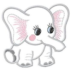 Baby Applique Patterns | Gunold Embroidery Design: Baby Elephant 3.60 inches H x 3.81 inches W