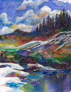 Watercolor Mixed Media Mountain View Print by Marty by ArtEssence, $20.00