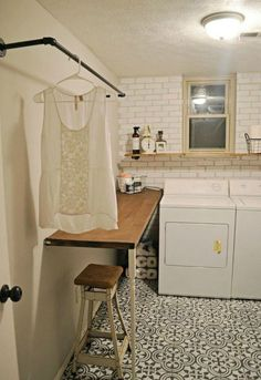 s hate your dreary laundry room try these 13 cute ideas, laundry rooms, Paint a faux subway tile wall