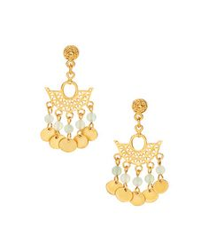 This Aventurine & Gold Chandelier Drop Earrings is perfect! #zulilyfinds