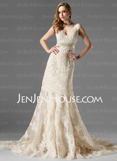 Wedding Dresses - $284.99 - A-Line/Princess V-neck Chapel Train Organza  Satin  Lace Wedding Dresses With Lace  Sashes  Beadwork (002000249) http://jenjenhouse.com/A-line-Princess-V-neck-Chapel-Train-Organza--Satin--Lace-Wedding-Dresses-With-Lace--Sashes--Beadwork-002000249-g249
