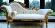Chaise Longue Ornate Gold Leaf Ivory fabric w crystals Lounge Sofa French Style Gold Furniture, French Furniture, Classic Furniture, Shabby Chic Furniture, Furniture Design, Furniture Stores, Furniture Ideas, Bedroom Chair, Bedroom Furniture