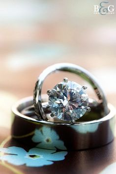 simple wedding ring, single stone engagement and a thin band its beautiful
