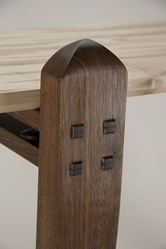 Detail of wedged tenon joinery on Ambrosia Top table