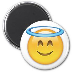 Smiling Face With Halo Emoji Refrigerator Magnets