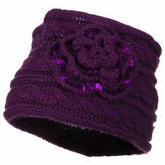 Sequin Flower Knit Head Band - Purple W15S21B SS/Sophia. $15.99