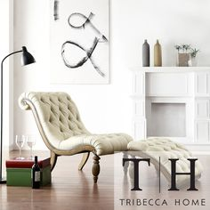 TRIBECCA HOME Bellagio Beige Linen Button Tufted Curved Chaise Lounge with Ottoman | Overstock.com Shopping - The Best Deals on Chairs
