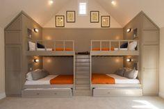 Bunk Beds For Girls Room, Bunk Bed Rooms, Loft Bunk Beds, Bunk Bed Plans, Bunk Beds Built In, Modern Bunk Beds, Bunk Beds With Stairs, Kid Beds, Built In Beds For Kids