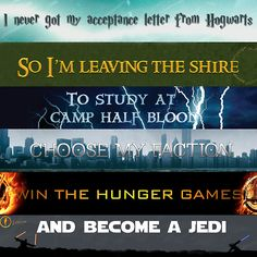 #fandomsunite Harry Potter, Lord of the Rings, Percy Jackson, Divergent, The Hunger Games, and Star Wars
