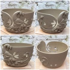 New work old design.  Fresh out of the studio today ..Peacock yarn bowl. Unfired custom order. Once biscuit fired this will be glazed in purple and blues. This is one of those designs that can be glazed in other colour combinations too. Pictures of the glazed outcome in about ten days. Alan R T Smith. Ceramic artist.  Earth Wool & Fire. earthwoolfire.etsy.com Also found on Instagram and Tumblr.