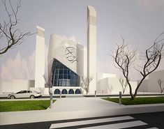 Mosque – Project Proposal on Behance - Diy Techniques Mosque Architecture, Sacred Architecture, Cultural Architecture, Religious Architecture, Futuristic Architecture, Architecture Design, Metal Buildings, Modern Buildings, Beautiful Mosques