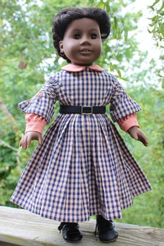 American Girl Doll Clothes  1850's Blue Plaid by Itsadollsworld, $90.00