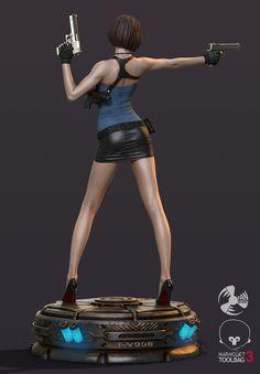 ArtStation - 热辣便衣女警, Fan 3Dart 3d Model Character, Character Modeling, Game Character, Resident Evil Girl, Resident Evil 3 Remake, Diorama, Jill Valentine, Modelos 3d, Anime Figurines