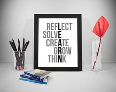Learn Reflect Solve Create Grow Think, Learning Poster, Education Quotes, School Wall Art, School Prints, School Prints, School Posters