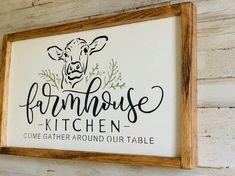 30 The Best Farmhouse Kitchen Art Ideas Farmhouse Kitchen Signs, Home Decor Kitchen, Farmhouse Decor, Kitchen Wood, Kitchen Ideas, Country Farmhouse, Kitchen Sign Diy, Kitchen Sayings, Farmhouse Ideas