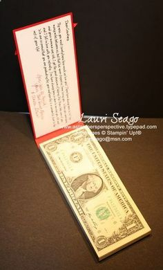 Graduation/Wedding Money gift Idea. Wonderful instructions on the link to Lauris site.