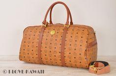 MCM Cognac Visetos PVC / Brown Leather Travel Bag With Strap