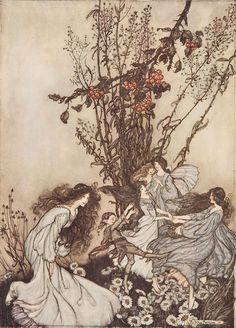 Dancing with Fairies, an Arthur Rackham illustration from Peter Pan in Kensington Gardens. My daughter and I just watched the movie Fairytale and this illustration reminds me so much of the fairies in the film!
