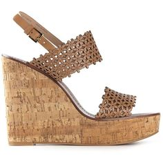 Tory Burch floral perforated wedge sandals (11,990 DOP) ❤ liked on Polyvore featuring shoes, sandals, wedges, heels, brown, brown sandals, tory burch sandals, wedge heel sandals, wedges shoes i leather sandals