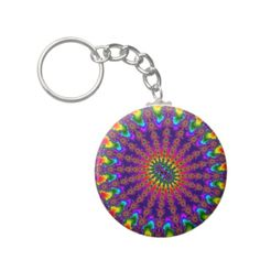 Customizable Rainbow Fractal Burst Basic Button Keychain on sale at www.zazzle.com/wonderart* or click on the picture to take you directly to the product.