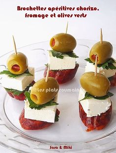 Brochettes apéritives chorizo, fromage et olives verts - By Les plats roumaines