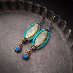 Mint Green Earrings Turquoise Blue Beaded Bead Earrings Beach