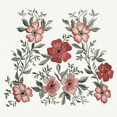 """My Embroideries """"Impatiens Vessel"""" embroidery design from the PFAFF Embroidery Collection using Sulky Rayon 40 thread."""