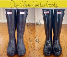 DIY How to Clean Hunter Boots...I used mine as gardening boots and after trying this they look as good as new again! :)