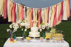 Punch up your springtime dessert table with a colorful garland.Photo Credit: Revival Photography