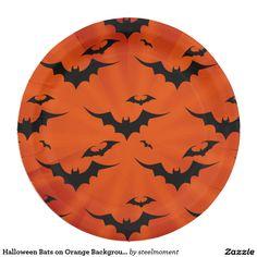 Halloween Bats on Orange Background