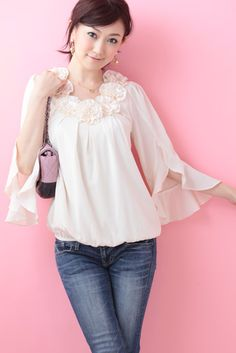 Chiffon Corsage Tunic (Cream)   Cherry Ann Online Shop Cherry Ann, Bell Sleeves, Bell Sleeve Top, Corsage, Chiffon, Tunic, Blouses, Cream, Shopping