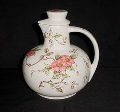 GORGEOUS Vintage Floral Decorated Pitcher Decanter Jug Nasco Springtime Pattern