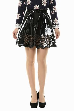 Hollow Out PU Leather Pleated Skirt