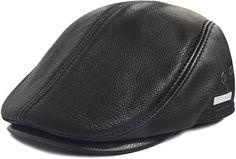 Amazon.com: LETHMIK Flat Cap Cabby Hat Genuine Leather Vintage Newsboy Cap Ivy Driving Cap L-Black: Clothing Leather Hats, Cowhide Leather, Driving Cap, Western Hats, Prada Men, Newsboy Cap, Flat Cap, Timberland Mens, Zip Around Wallet