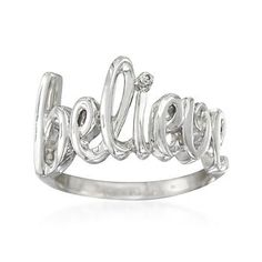 Believe Ring With Diamond Accent in Sterling Silver. What's more romantic than telling someone you believe in them? #valentinesday #romance Find this, and more like it by clicking on the ring.