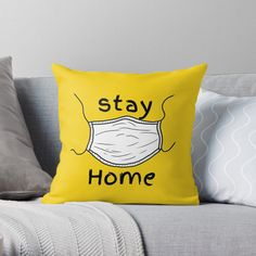 'Stay Home Stay Safe Stay Healthy' Throw Pillow by Flat Lay Photography, Clothing Photography, Awesome Quotes, Best Quotes, Christian Gifts, Designer Throw Pillows, Stay Safe, Pillow Design, How To Stay Healthy