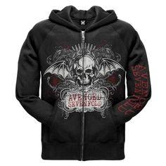Avenged Sevenfold Ornate Zip Hoodie ($52) ❤ liked on Polyvore featuring tops, hoodies, avenged sevenfold, band merch, jackets, zip hoodies, zip top, zipper hoodies, hooded pullover and hooded sweatshirt