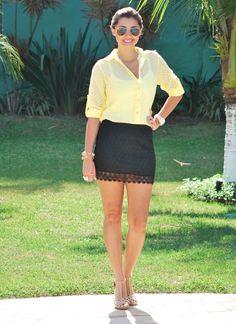 Look // Amarelo // Saia Preta // Linda <3
