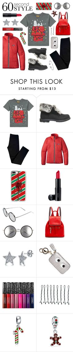 """60 Second Style: Merry Christmas!"" by lgb321 ❤ liked on Polyvore featuring Timberland, J Brand, Patagonia, Casetify, Laura Geller, Linda Farrow, Rose Hovord, BERRICLE, Anya Hindmarch and Kat Von D"